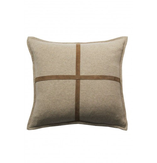 Palermo Beige Cashmere and Suede Pillow