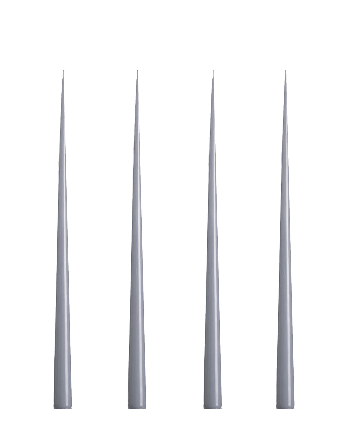 Lacquer Tall Taper Candles Set of 4, Cool Gray