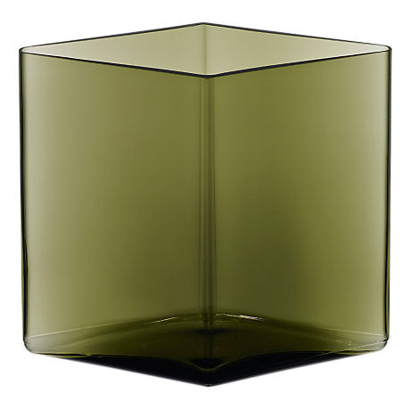 Ruutu Moss Green Wide Vase