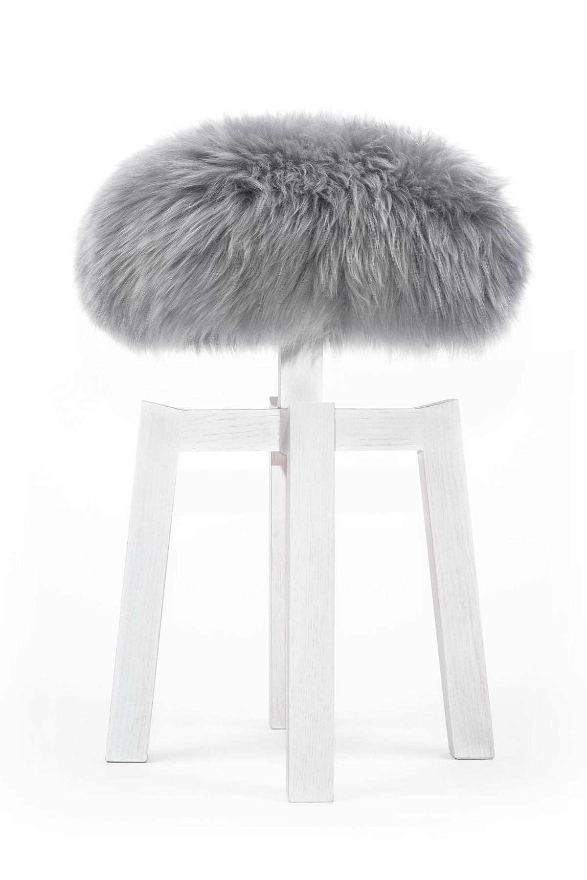 Lamb Stool, Silver Grey with White Legs