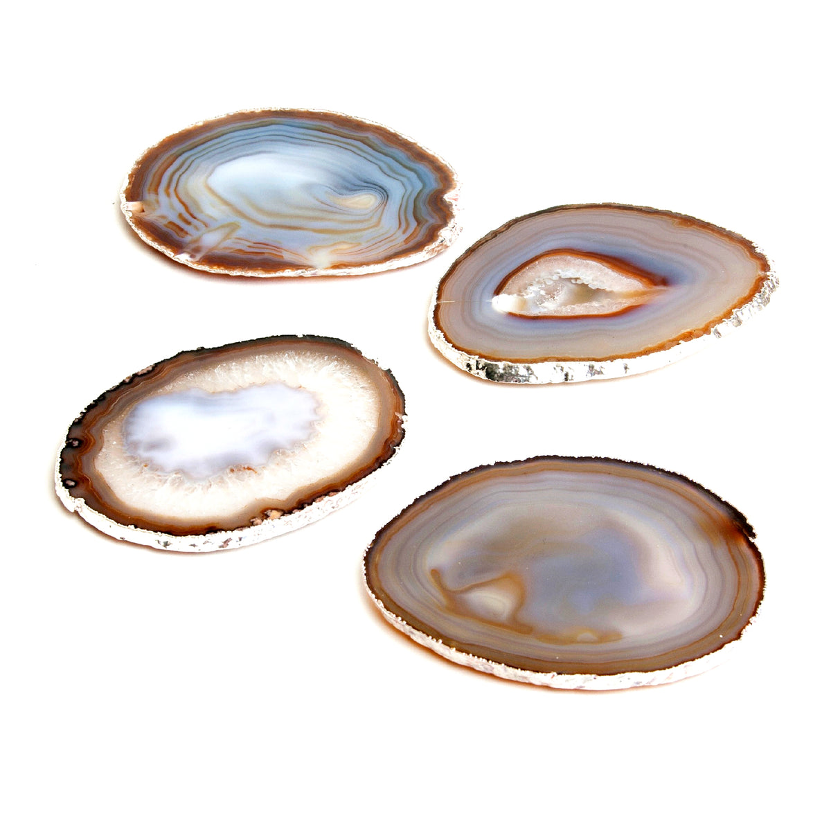 Agate Natural Grey Coasters with Platinum Set of 4