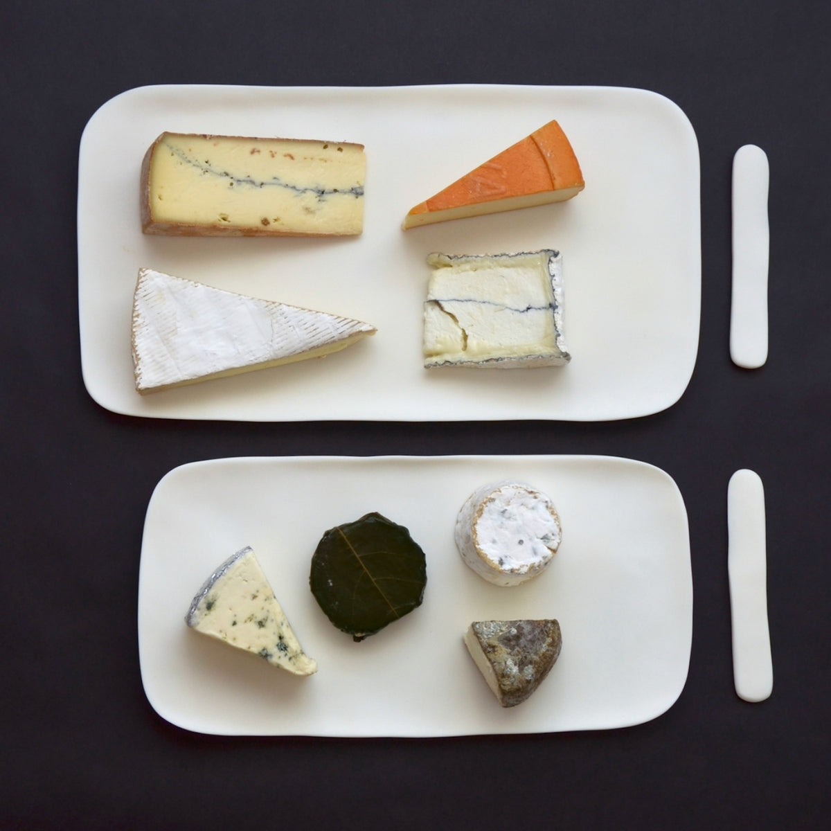Large White Serving Board with Cheese Spreader
