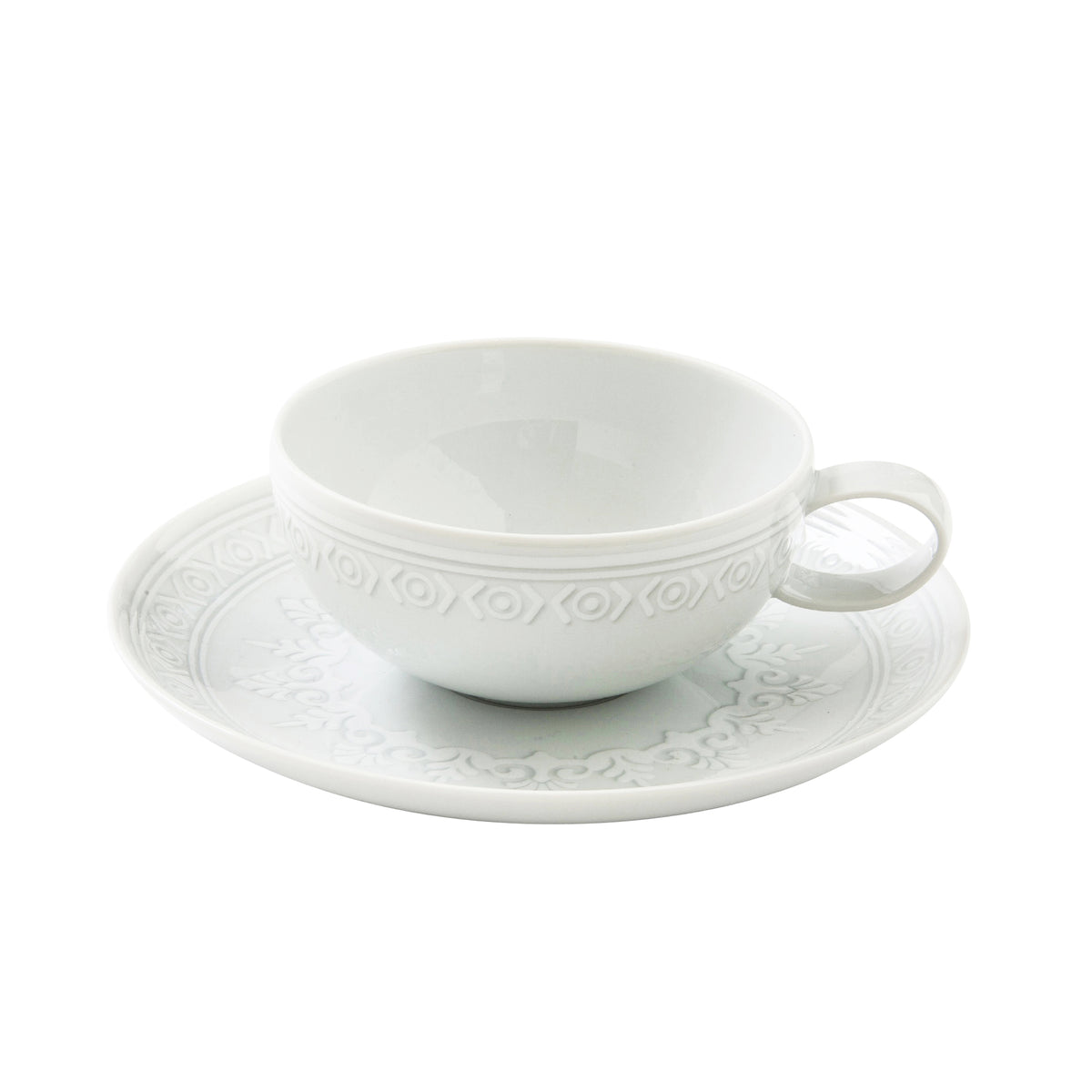 Ornament Geometry Porcelain Tea Cup and Saucer