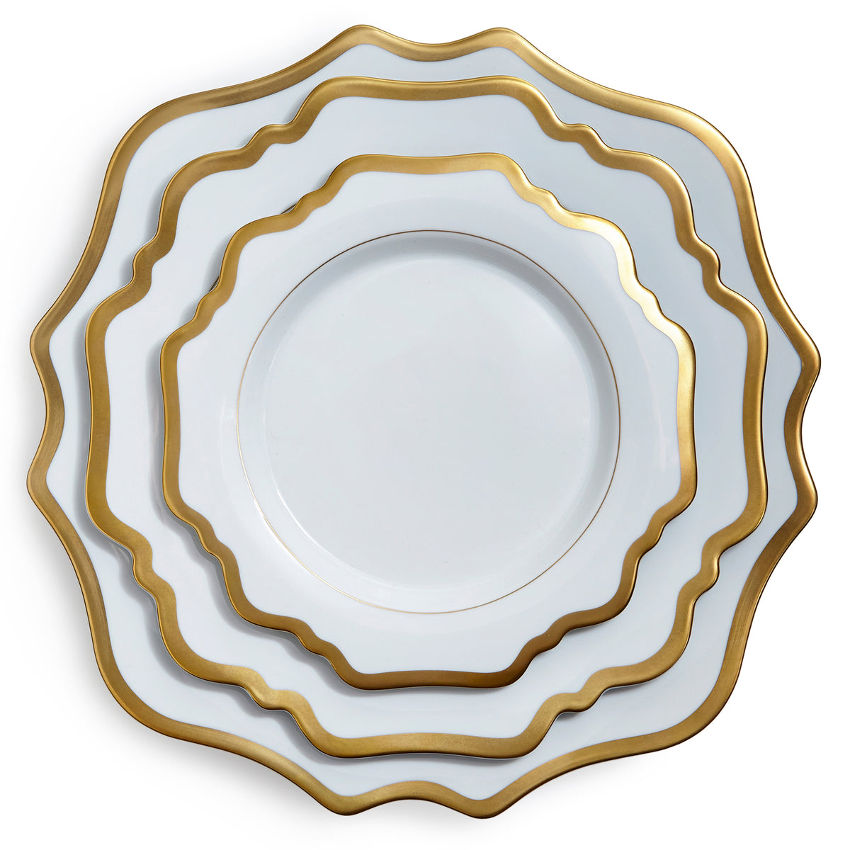Antique White and Gold Dinner Plate