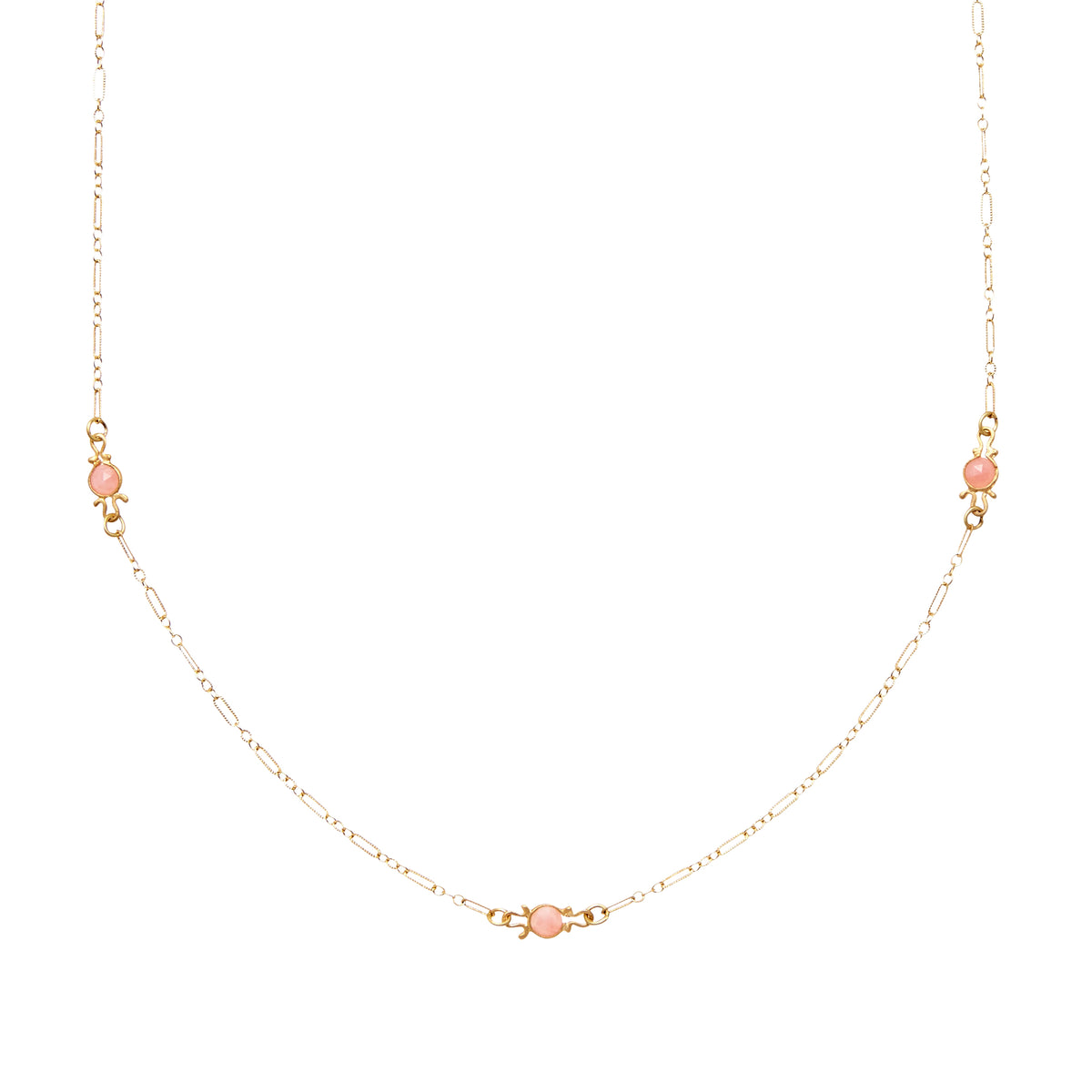 14K Gold Necklace with Opal Stations