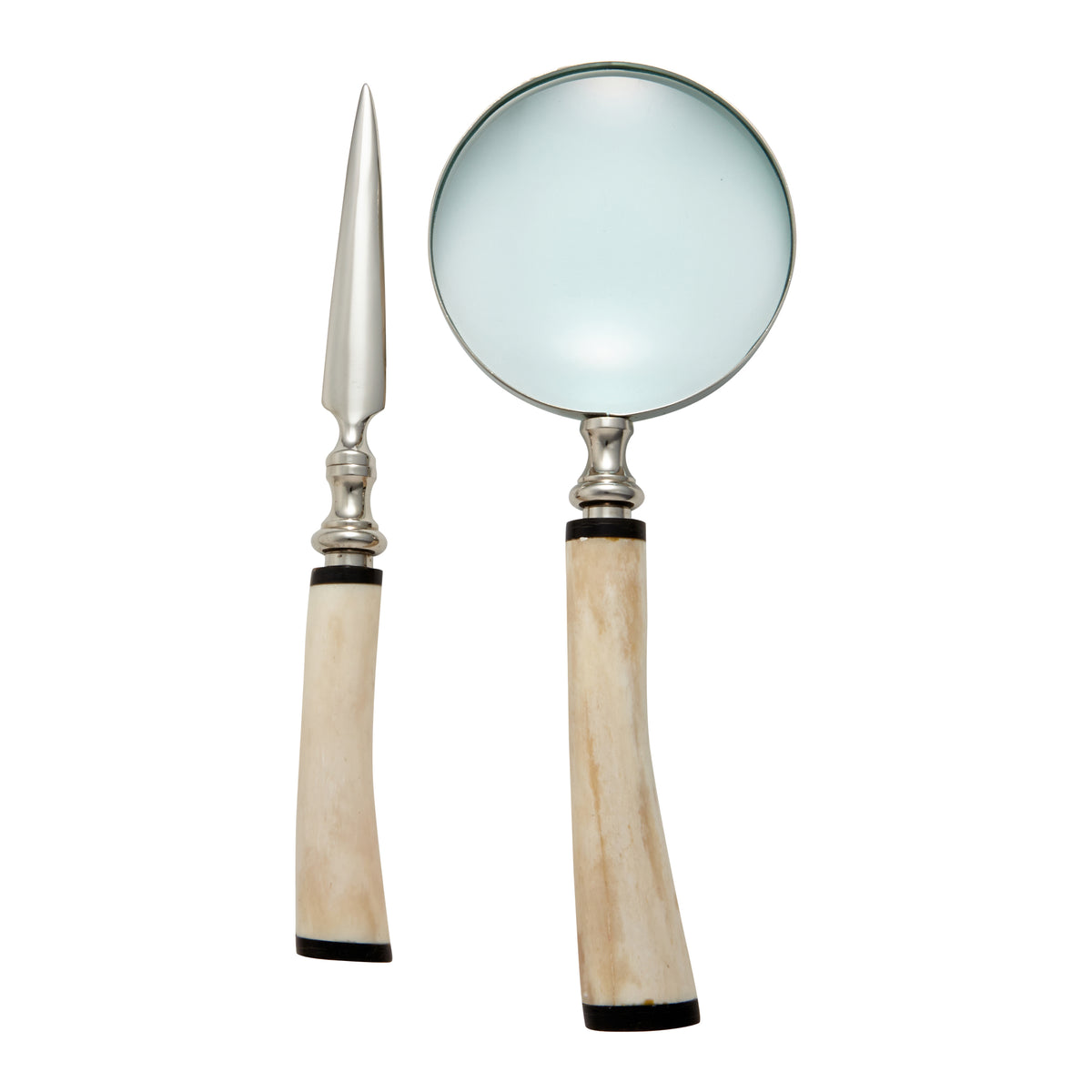 Magnifying Glass and Letter Opener with White Bone Handle
