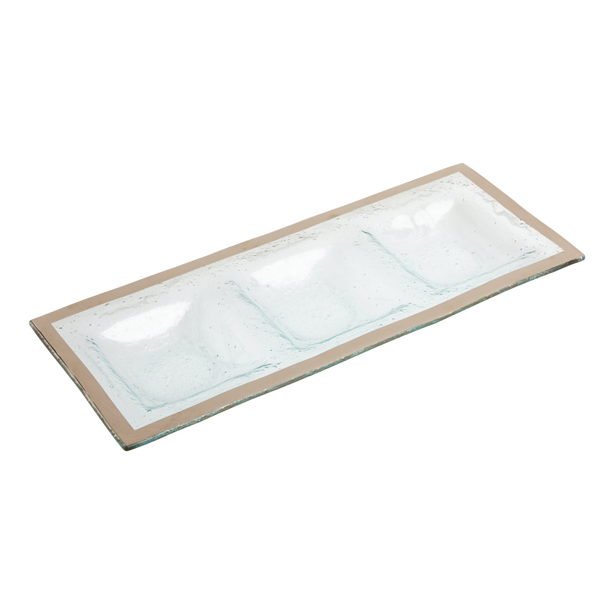 Three Section Tray with Platinum Edge