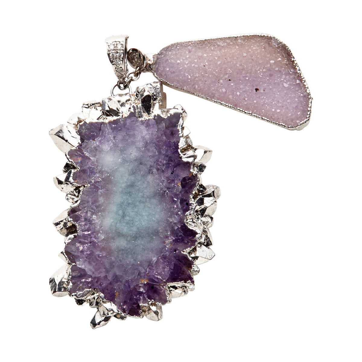 Amethyst and Quartz Pendant with White Gold & Diamond