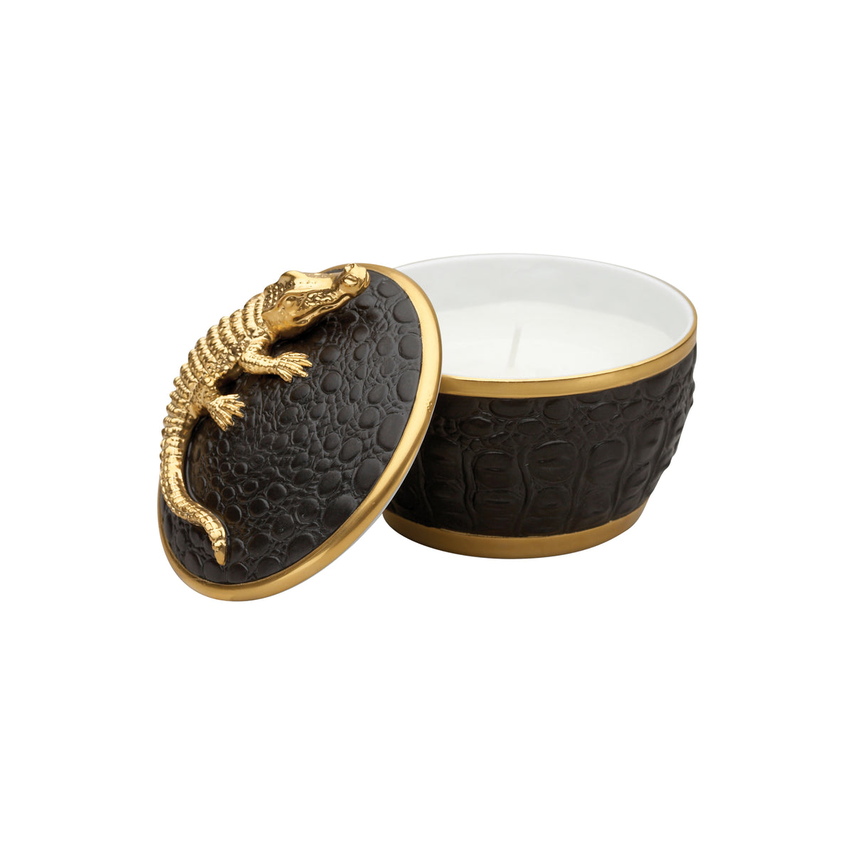 Gold Crocodile Candle on Black Porcelain Base