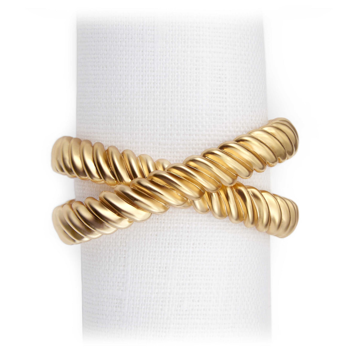 Set of 4 Gold Deco Twist Napkin Rings