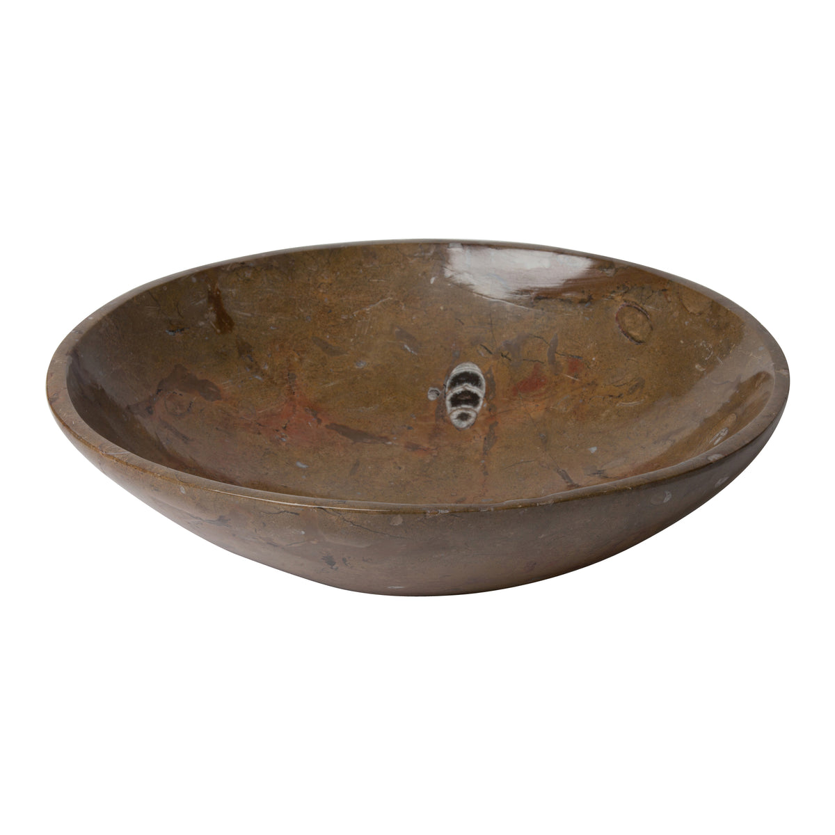 Brown Fossil Stone Serving Bowl