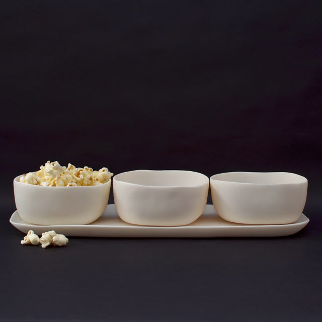 Trio of White Bowls on Dish