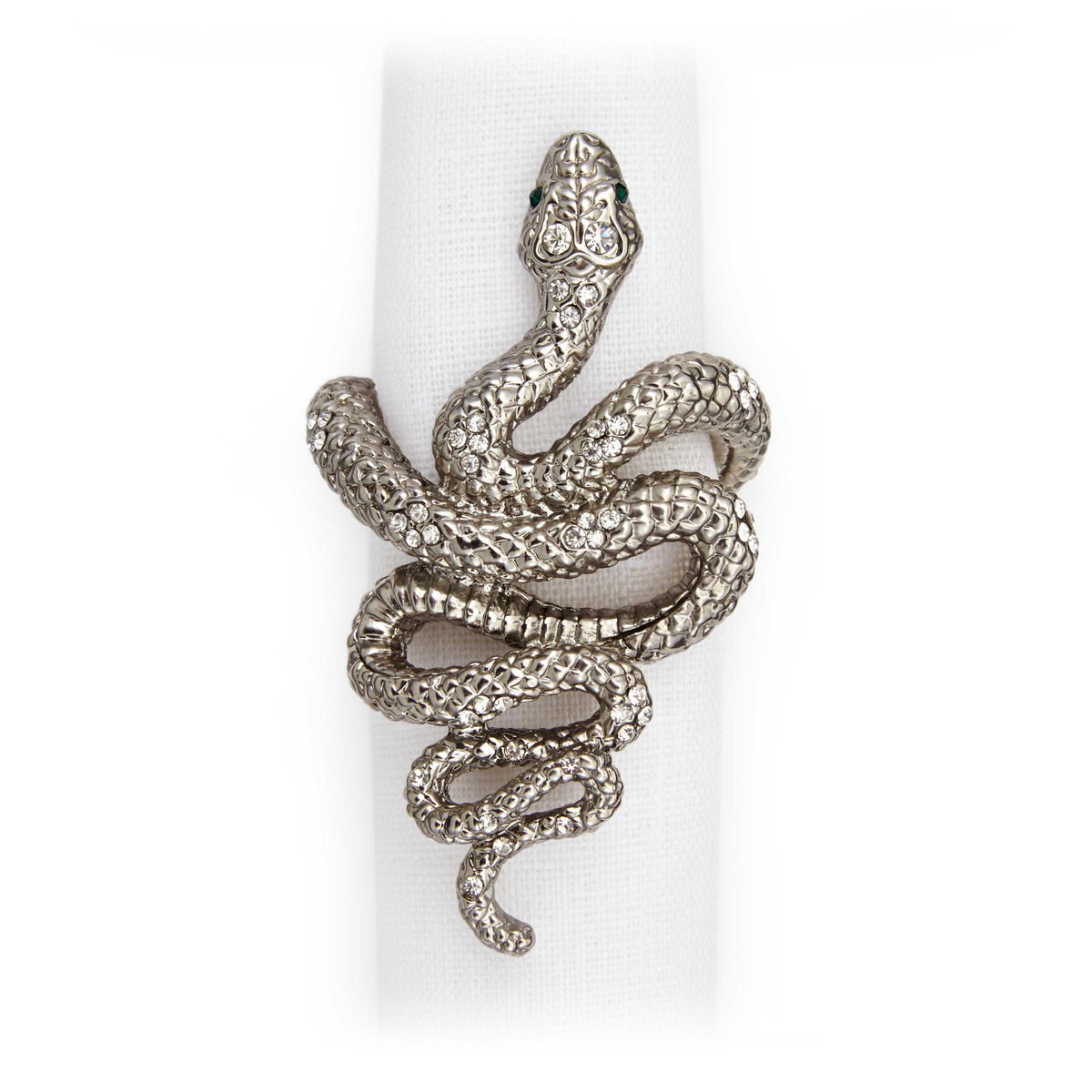Set of 4 Platinum Snake Napkin Rings