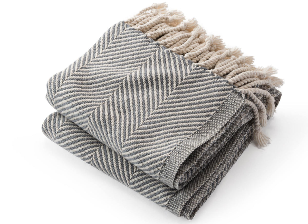 Alpaca Herringbone Throw Natural/Slate