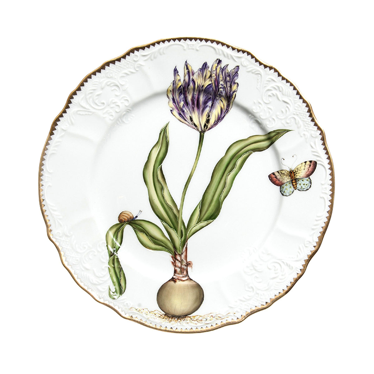 Flowers Of Yesterday Yellow and Purple Tulip Dinner Plate