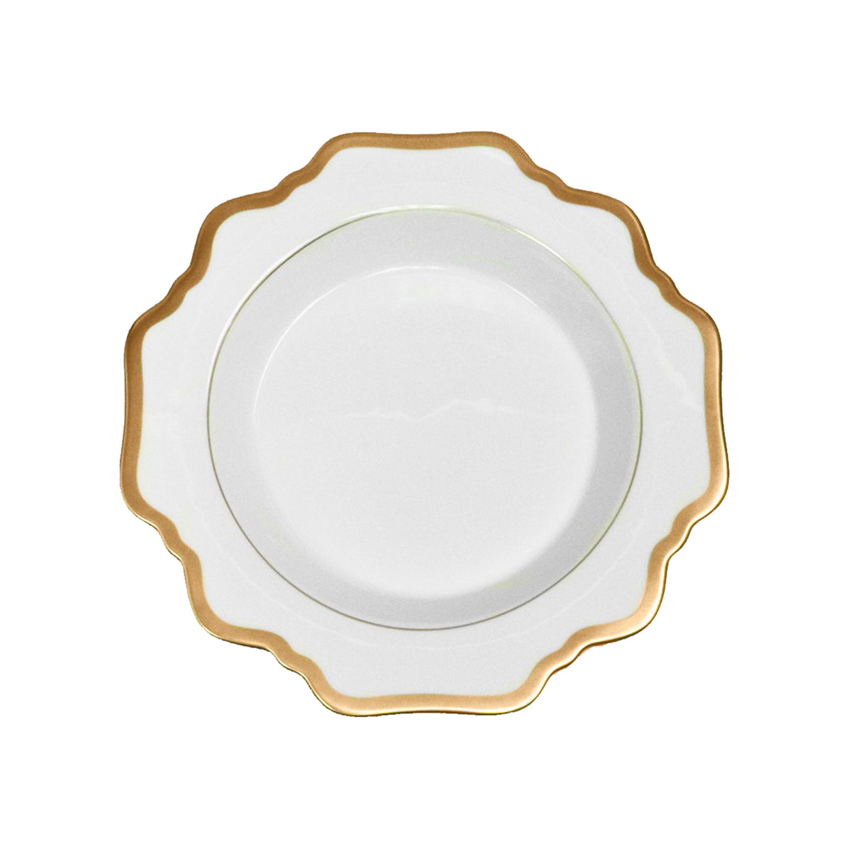 Antique White and Gold Rim Soup Plate