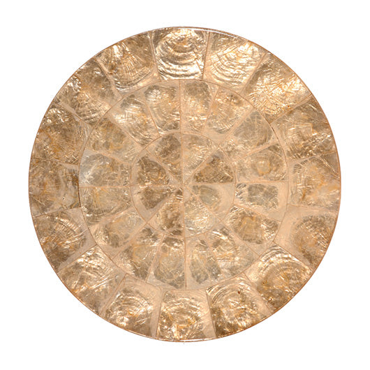 Round Capiz Shell Placemat Champagne - Set of 4