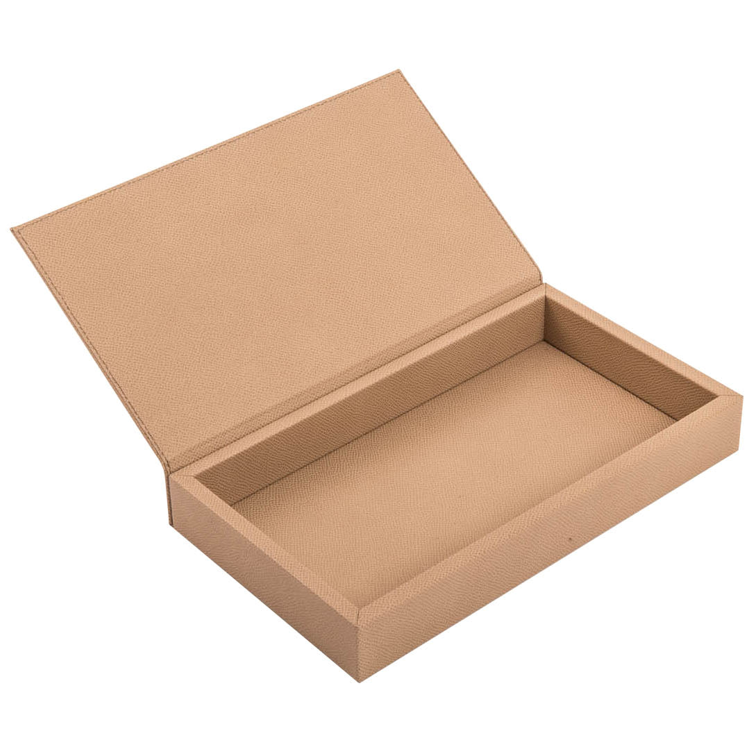 Taupe Rectangular Box with Leather Lid