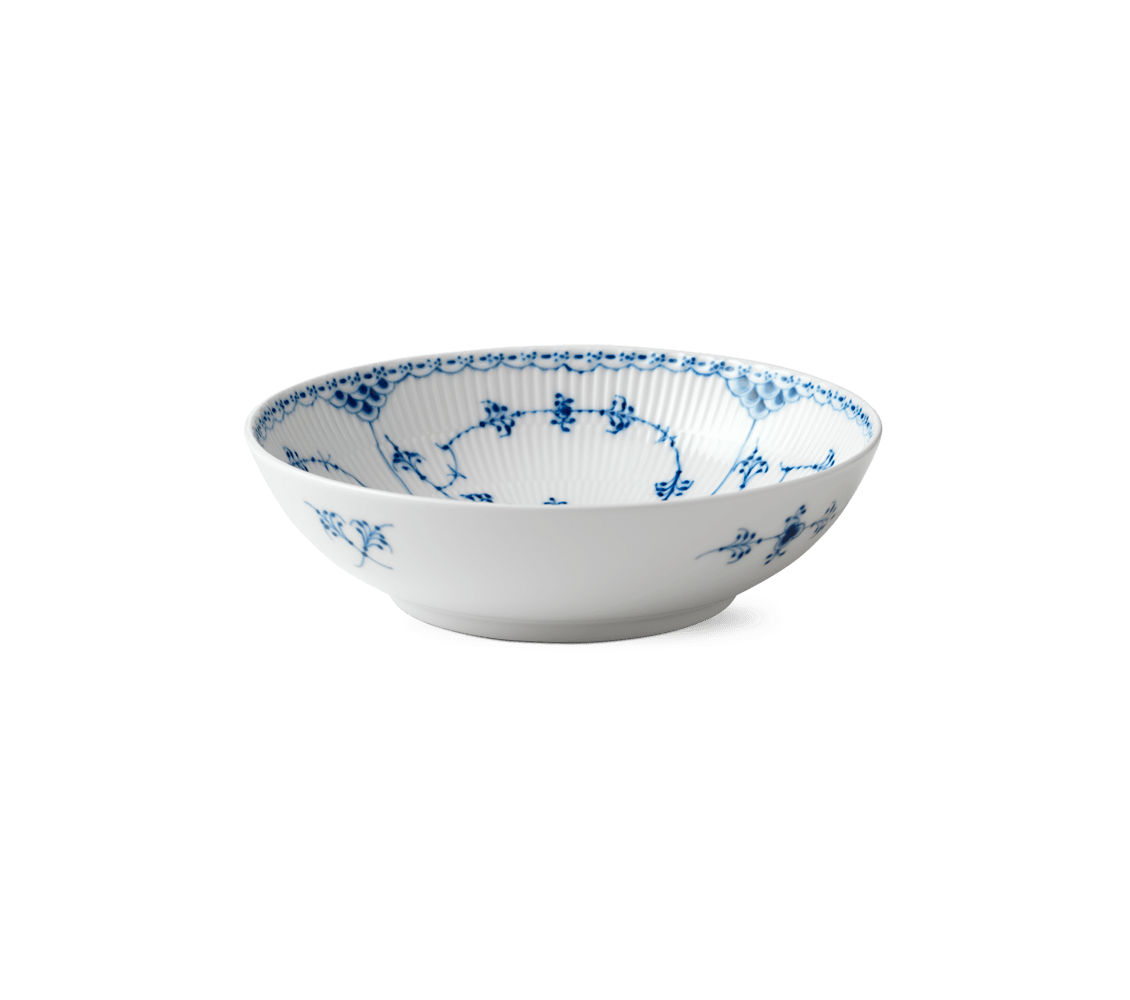 Blue Fluted Half Lace Bowl, 21.5cm