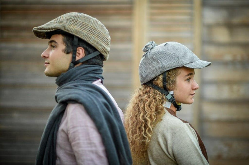 HIS AND HERS SHERLOCK TWEED CAP AND HELMET