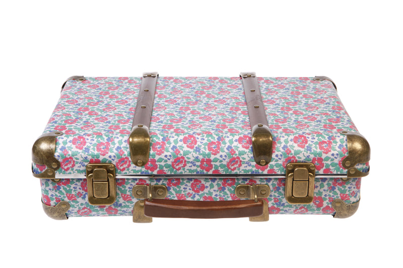 BEG FLORAL SUITCASES