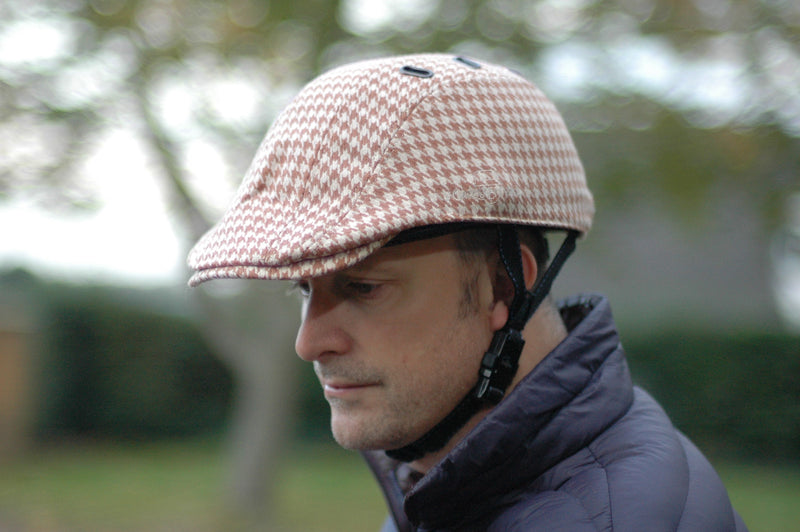 BEG BICYCLES CASQU'EN VILLE HIS AND HERS DOGTOOTH CAP AND CYCLE HELMET