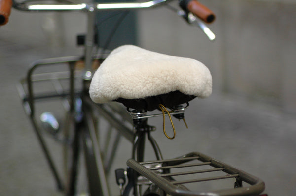 BEG SHEEPSKIN BIKE SADDLE COVER