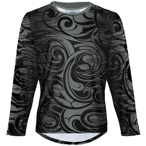Swirls in Gray - MTB Long Sleeve Jersey