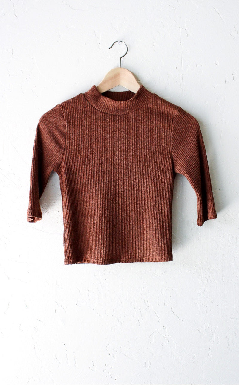 Ribbed Mock Neck Crop Top