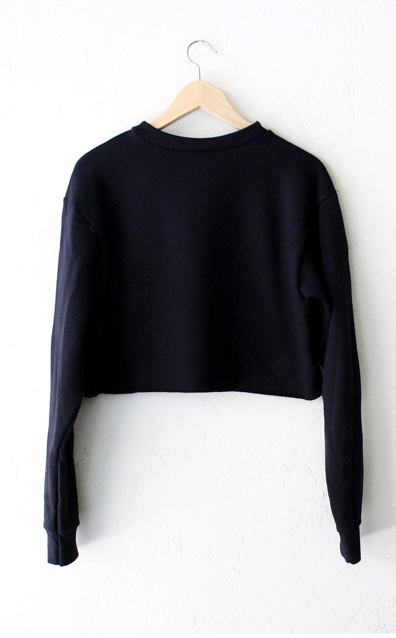 NYCT Clothing New York 199x Cropped Sweater - Black