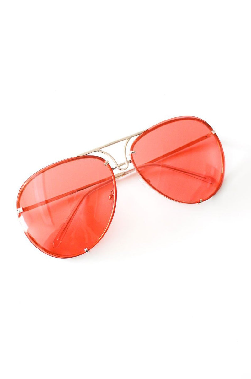 NYCT Clothing Aviator Sunglasses - Red