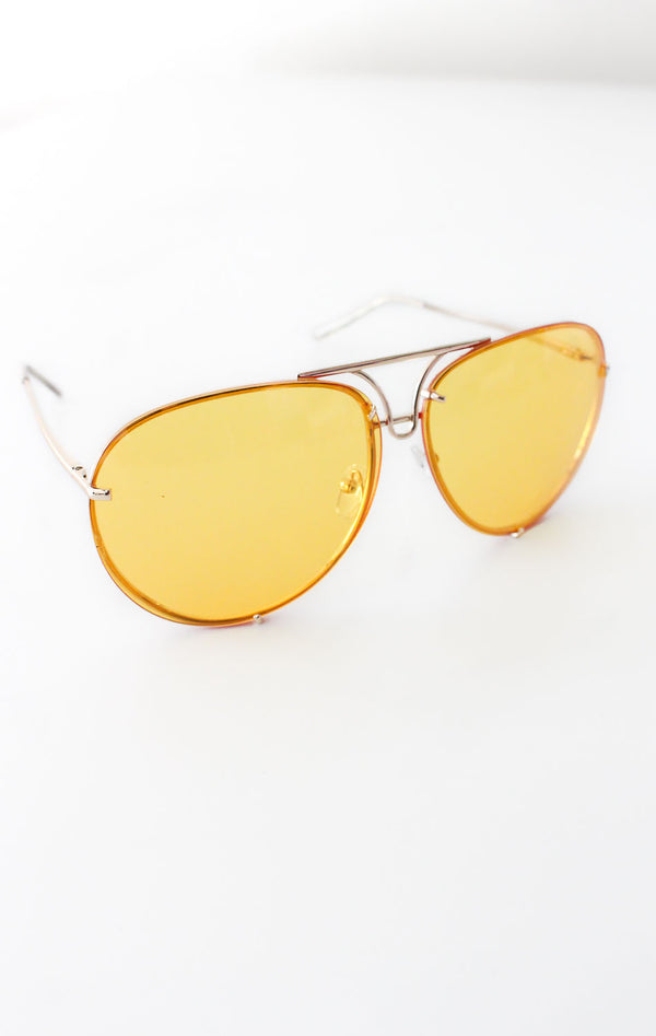 NYCT Clothing Aviator Sunglasses - Yellow