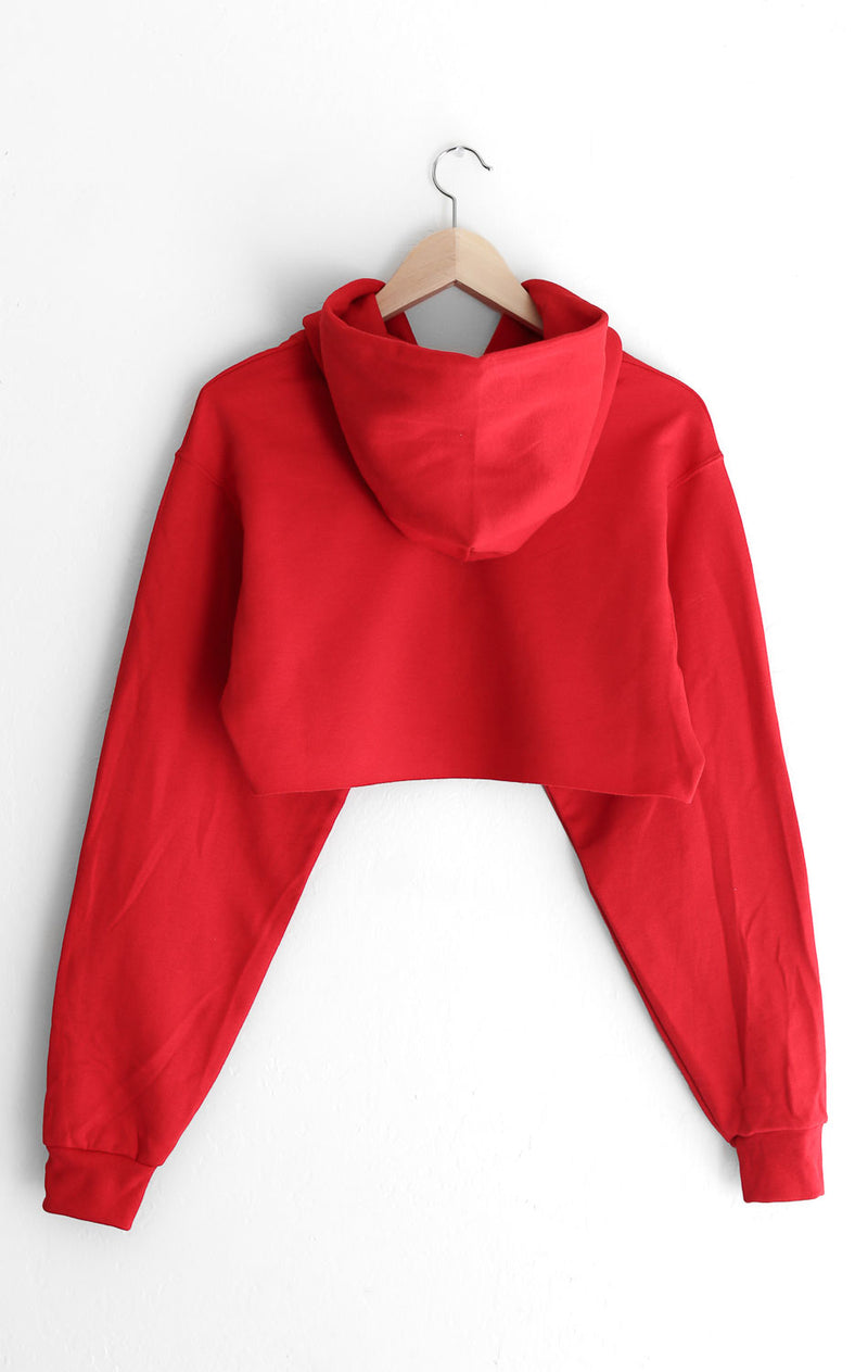 NYCT Clothing Baby Oversized Cropped Hoodie - Red