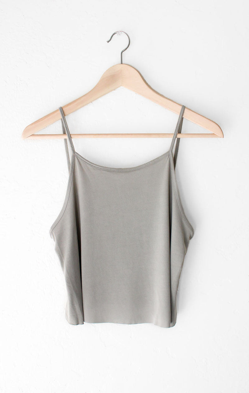 NYCT Clothing Basic Cropped Cami - Olive