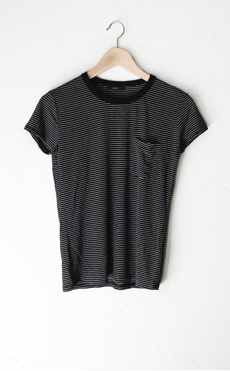 Striped Pocket Tee - Black/Cream