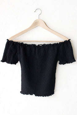 b05d3d5213bb2f Smocked Off Shoulder Crop Top – NYCT CLOTHING