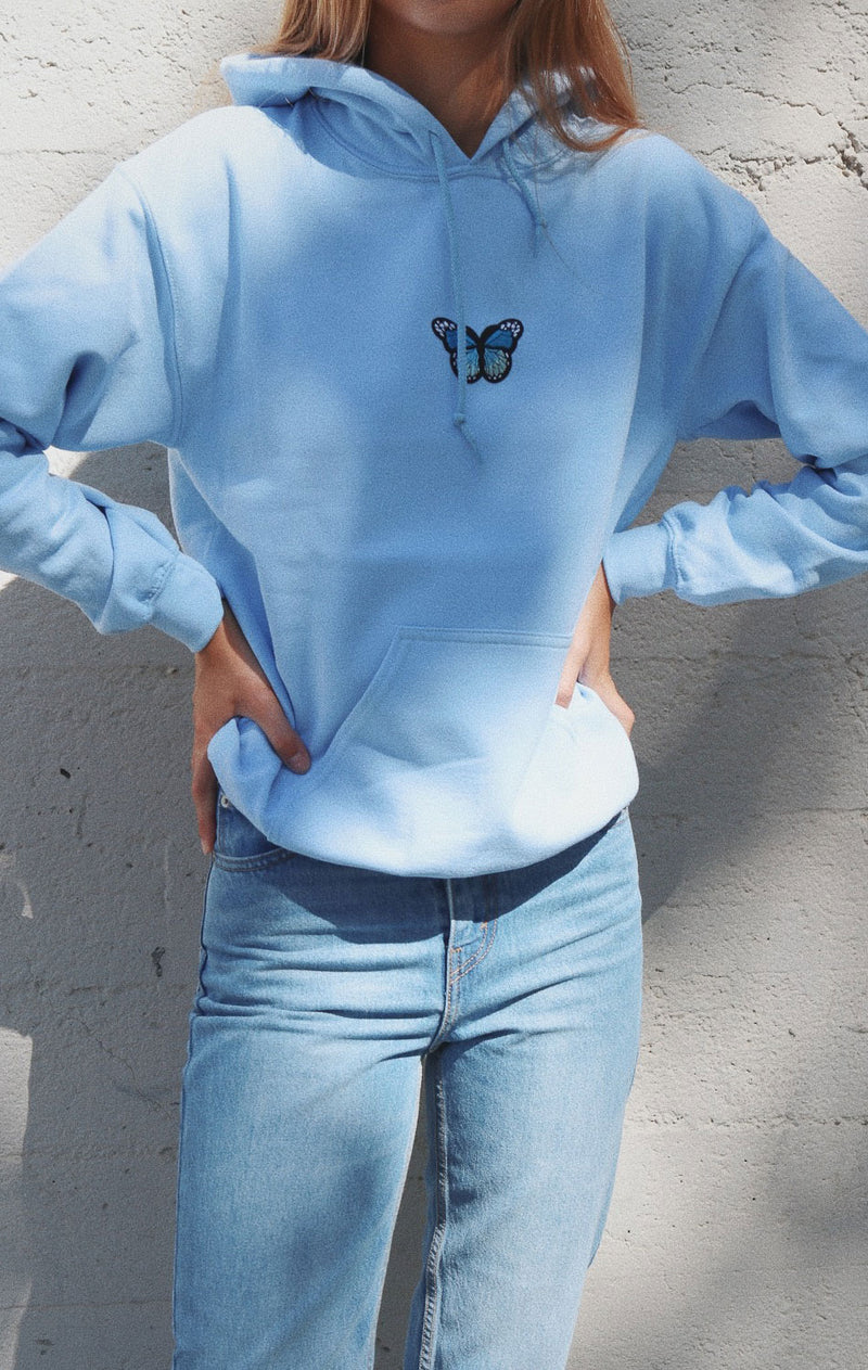 NYCT Clothing Butterfly Hoodie - Light Blue