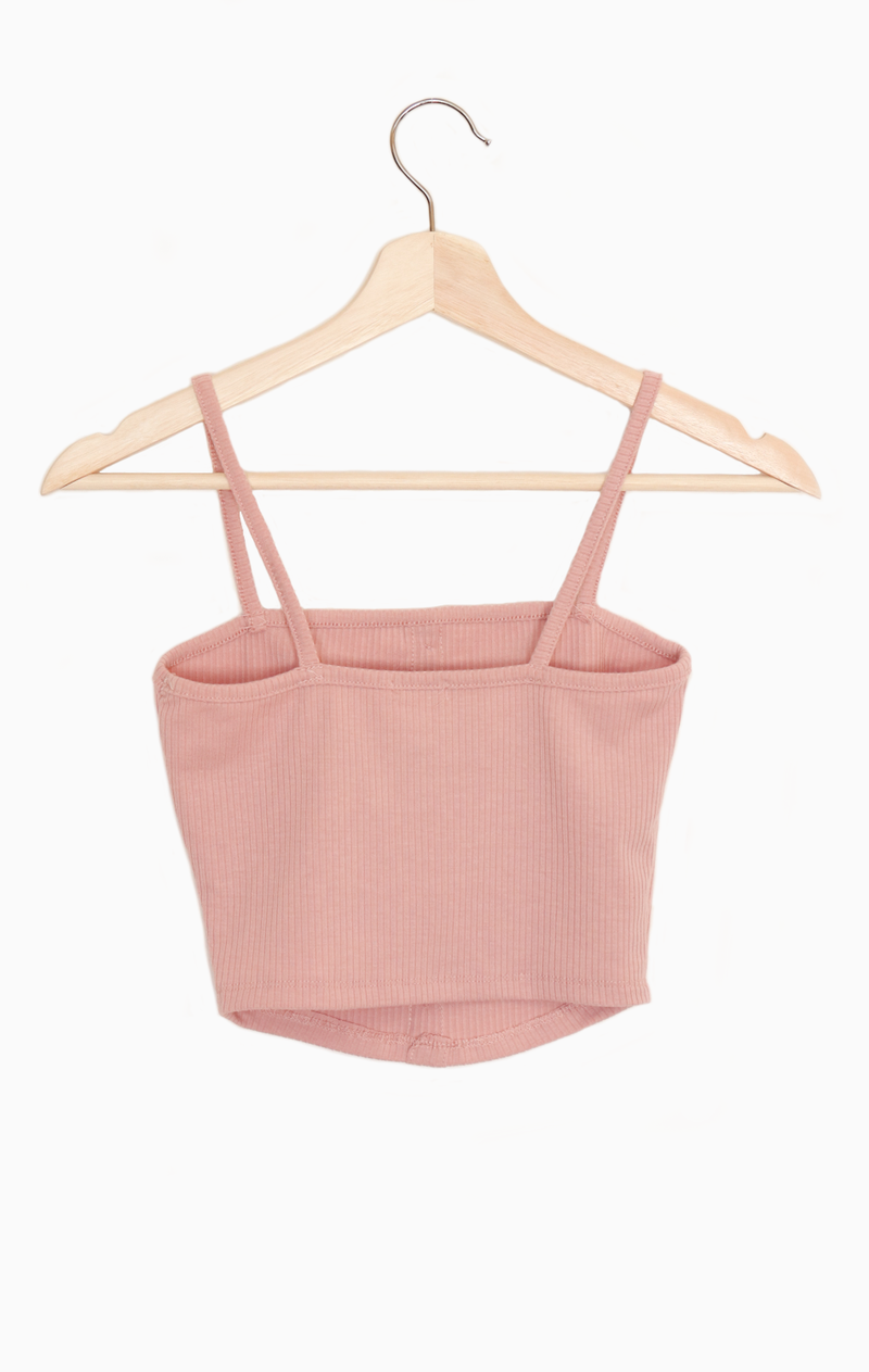 NYCT Clothing Button Accent Ribbed Cami Crop Top