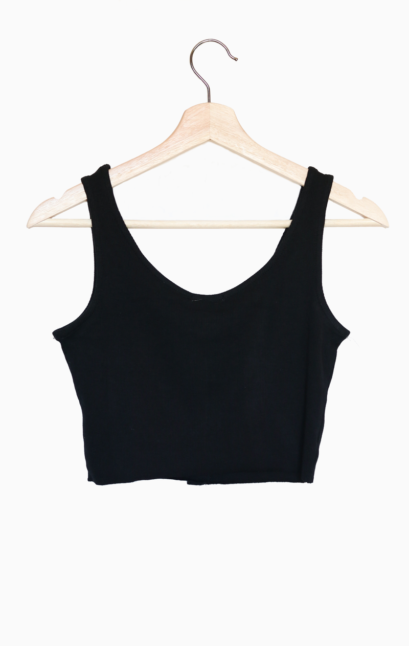 NYCT Clothing Button Accent Cropped Top - Black