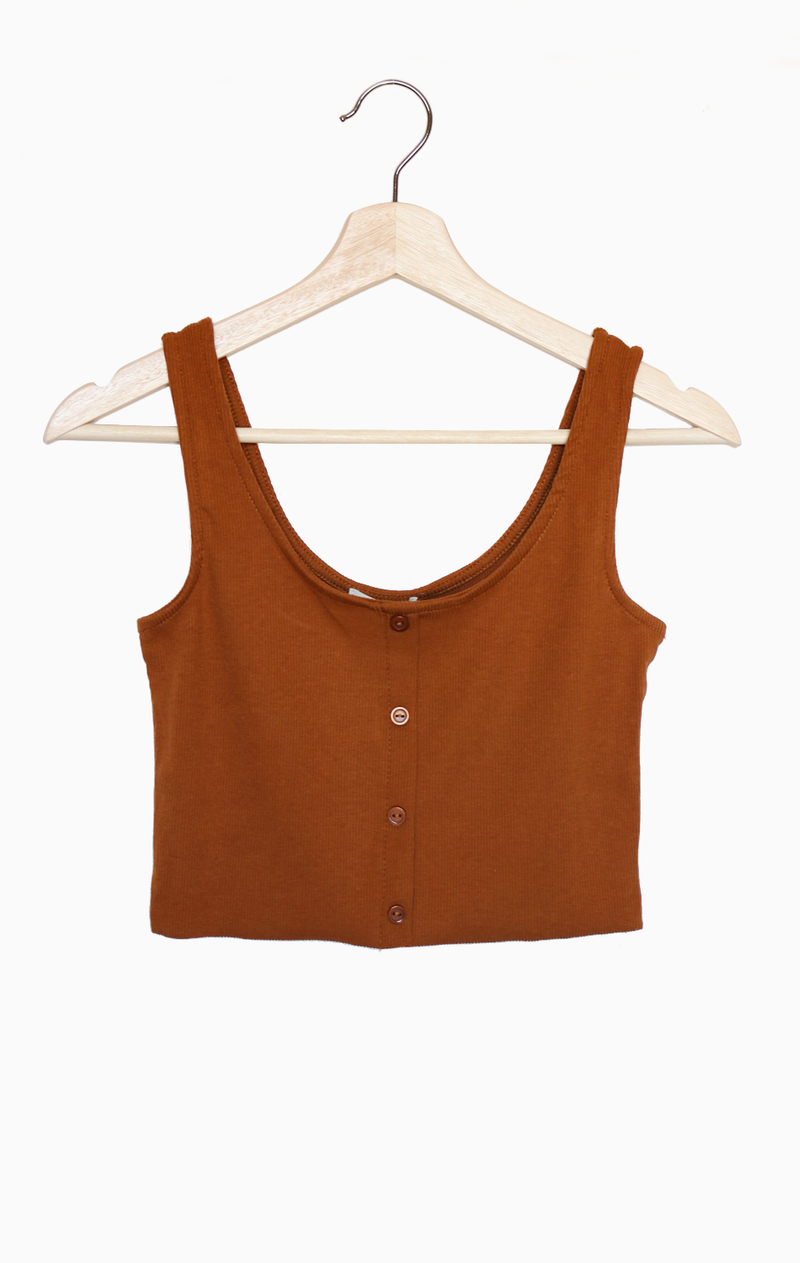 NYCT Clothing Button Accent Cropped Top