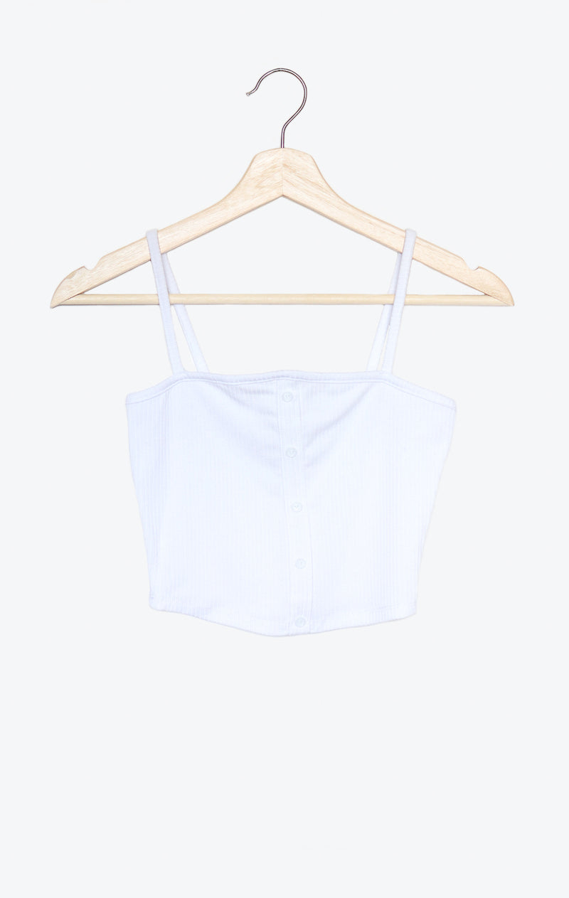 NYCT Clothing Button Accent Ribbed Cami Crop Top - White