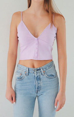 NYCT Clothing Button Accent V-neck Cami - Lavender