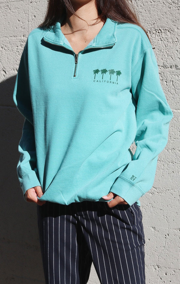 NYCT Clothing California Palm Trees Half Zip Sweatshirt