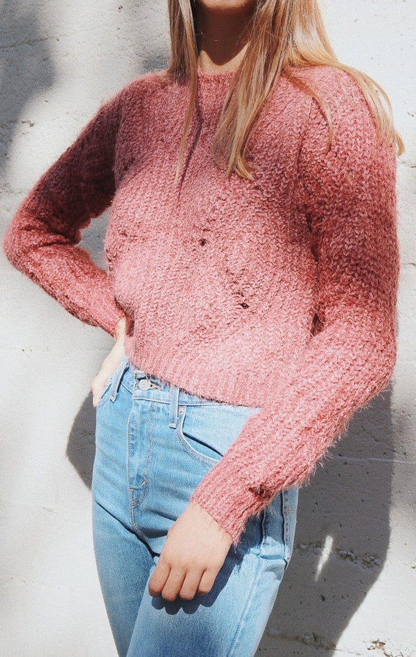 NYCT Clothing Chunky Knit Sweater - Mauve