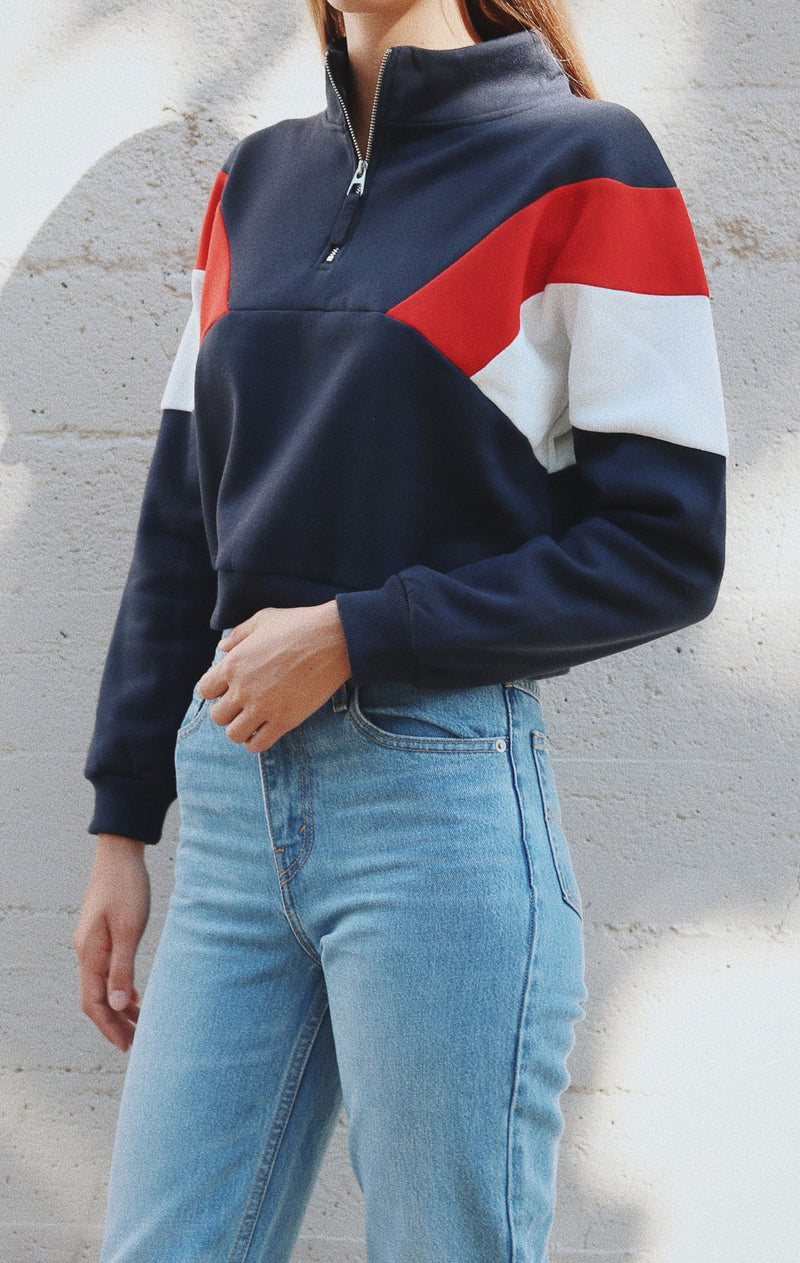 NYCT Clothing Colorblock Half Zip Sweater