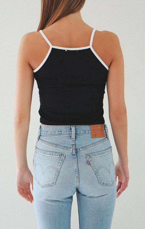 NYCT Clothing Contrast Trim Cami Crop Top