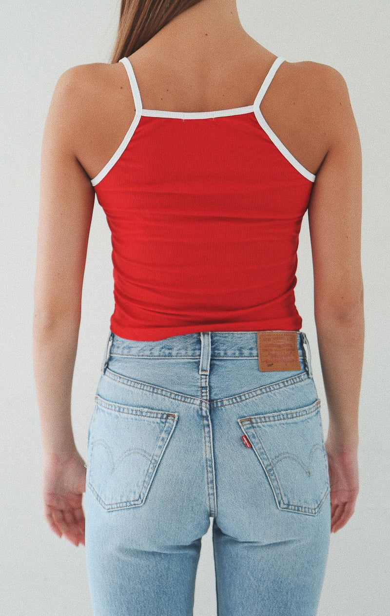 NYCT Clothing Contrast Trim Cami Crop Top - Red