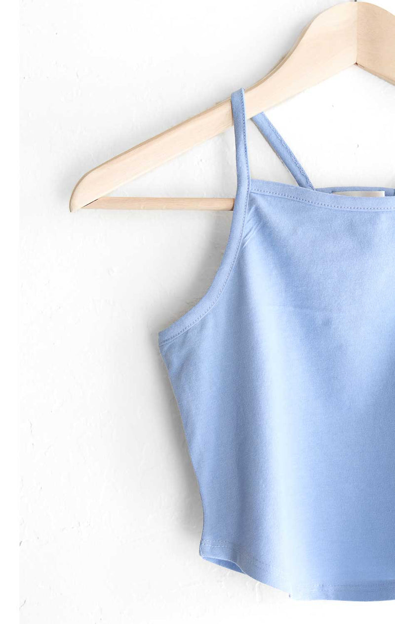 NYCT Clothing Cropped Cami Tank Top - Light Blue