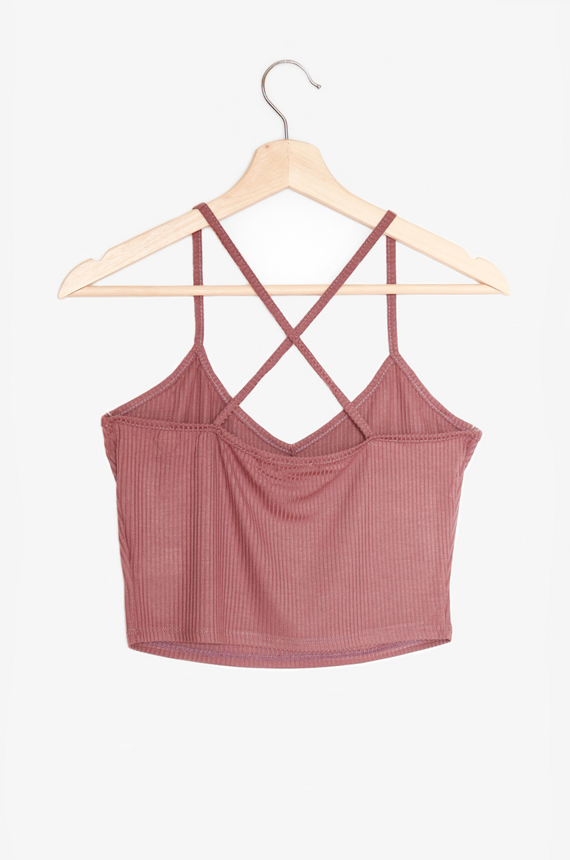 NYCT Clothing Cross Back Crop Top - Mauve