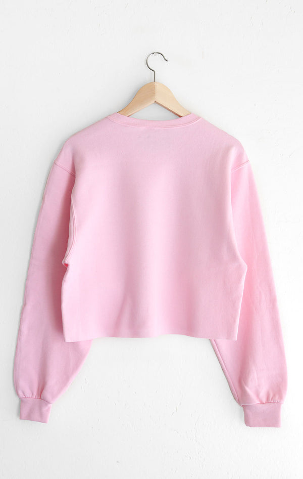 NYCT Clothing Happy Thoughts Cropped Oversized Sweatshirt